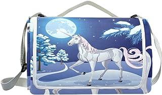 jeansame Vintage Moon Night Unicorn Stars Picnic Mat Coperta da Picnic, da Campeggio per Outdoor Viaggio Yoga Escursionismo Impermeabile Portatile Pieghevole 150x 145cm