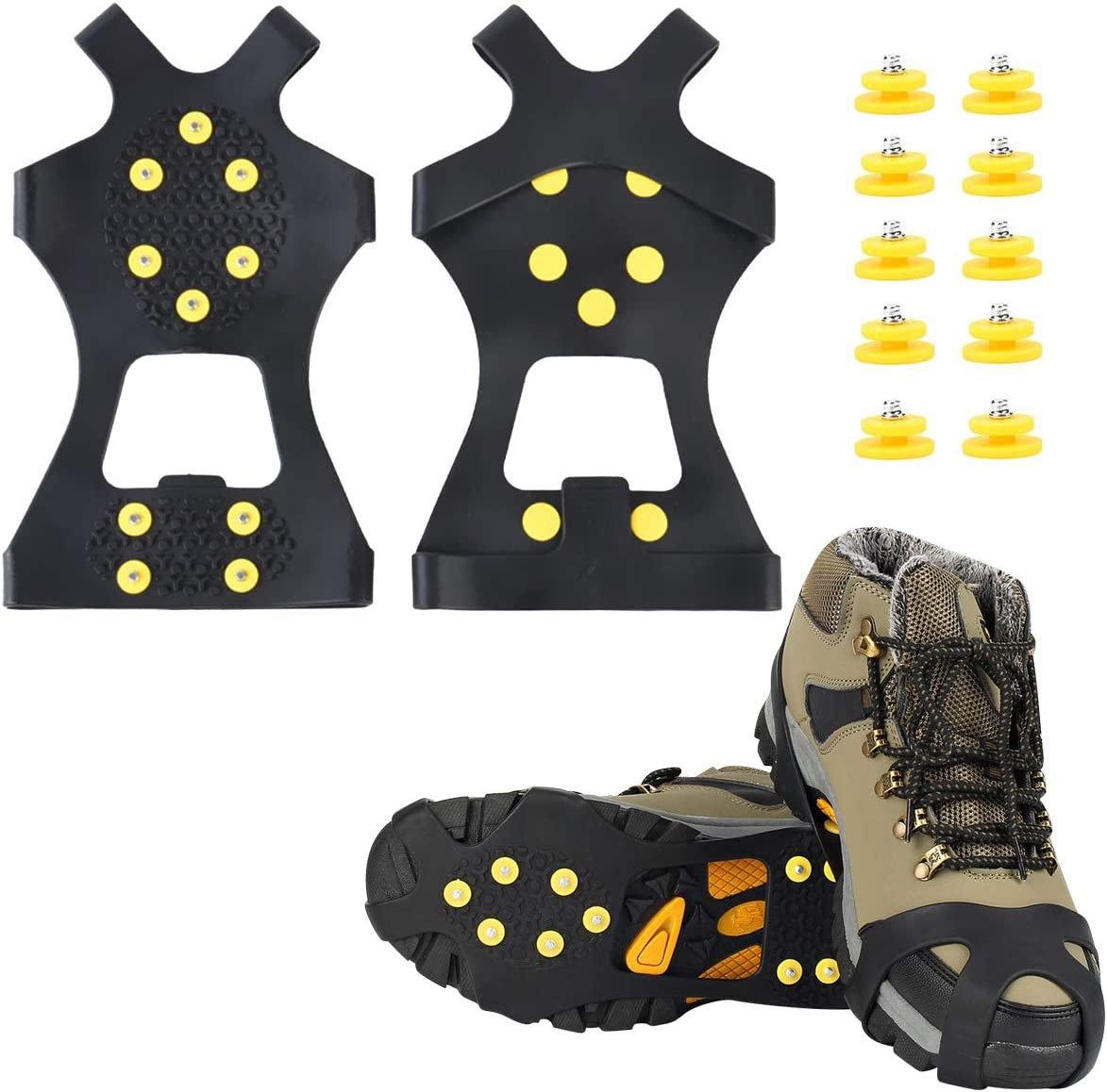 Homyl Unisex Anti-Slip Ice Cleats Shoes Boots Covers Grips Strap-On Heel Traction Aid Crampon Snow Spikes 1 Pair