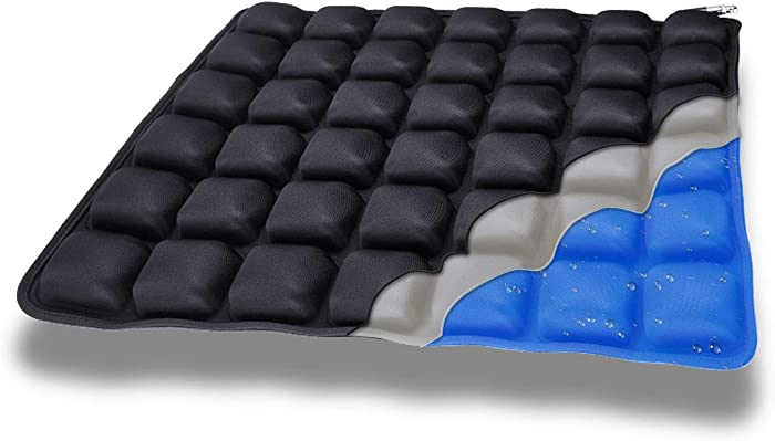 Haerniubi Water Seat Cushion Air Inflatable Chair Pad for Wheelchair, Office Chair, Cars, Home Living, Pressure Relief Pillow, Adjustable Volume & Softness – Cool Non-Slip Hip Protector (Black)