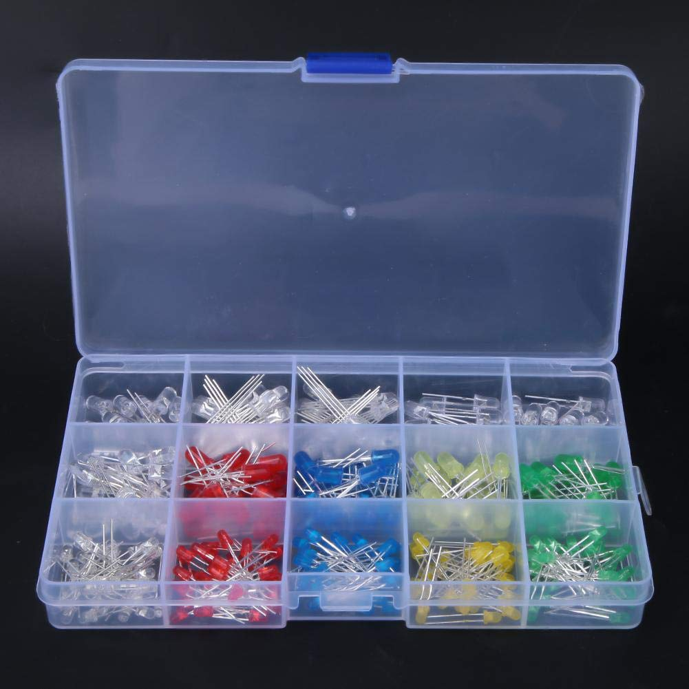 300Pcs LED diodi luminosi Kit,3mm//5mm Kit assortiti diffusi lampada 5 Colori assortiti UV//Lampeggiamento lento//Anodo//Catodo con scatola di immagazzinaggio
