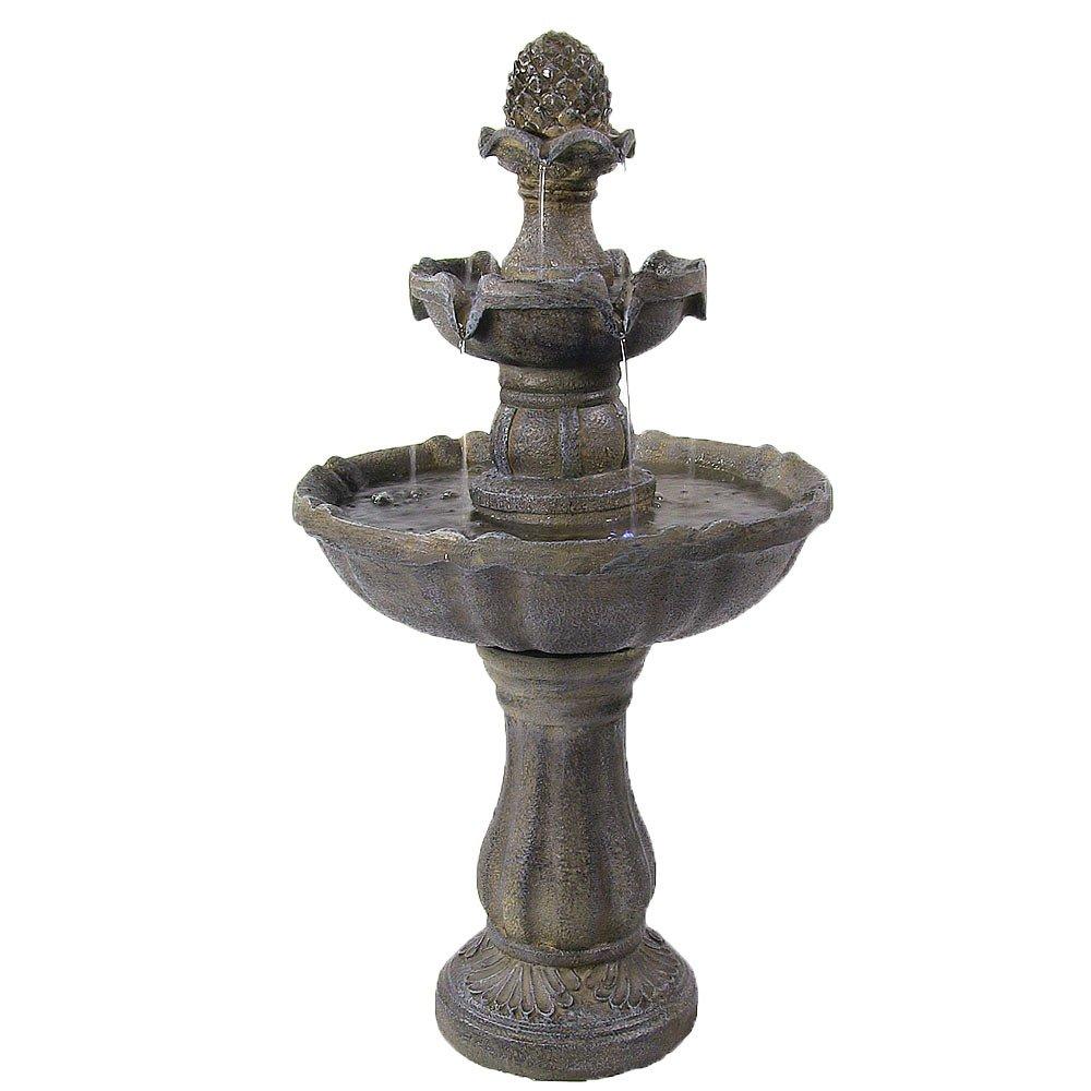 Sunnydaze 2 Tier Pineapple Water Fountain Solar on Demand Fountain, 33 Inch