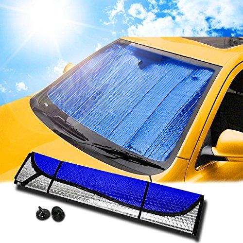 "Zento Deals Blue/Silver Reversible Car Sunshade 53"" X 27"""
