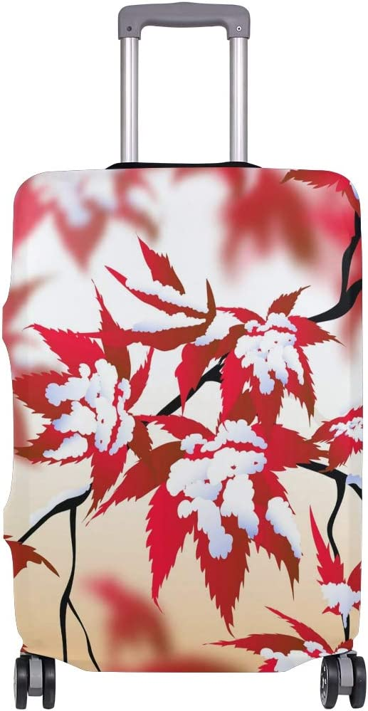 OREZI Luggage Protector,Beauty Of Winter Landscape /& Maple Leaves Elastic Travel Luggage Suitcase Cover,Washable and Durable Anti-Scratch Case Protective Cover for 18-32 Inches