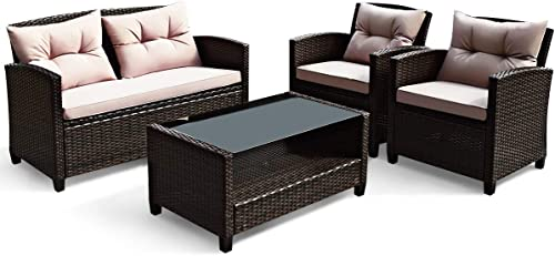 HAPPYGRILL 4-Piece Patio Conversation Set Rattan Wicker Chair Furniture Set