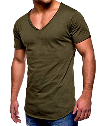 3149141160f0 MODCHOK Men's T-Shirt Short Sleeve V Neck Slim Fit Shirt Basic Casual Tee  Tops