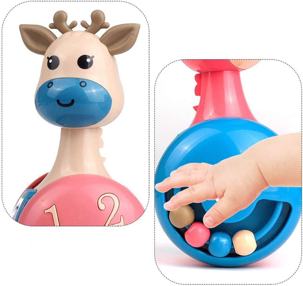 BARAMUNU Giraffe Tumbler Doll Roly-Poly Baby Toys Cute Rattles Toys for Newborns 3-12 Month Baby Boys and Girls Xmas Birthday Gifts Stocking Fillers
