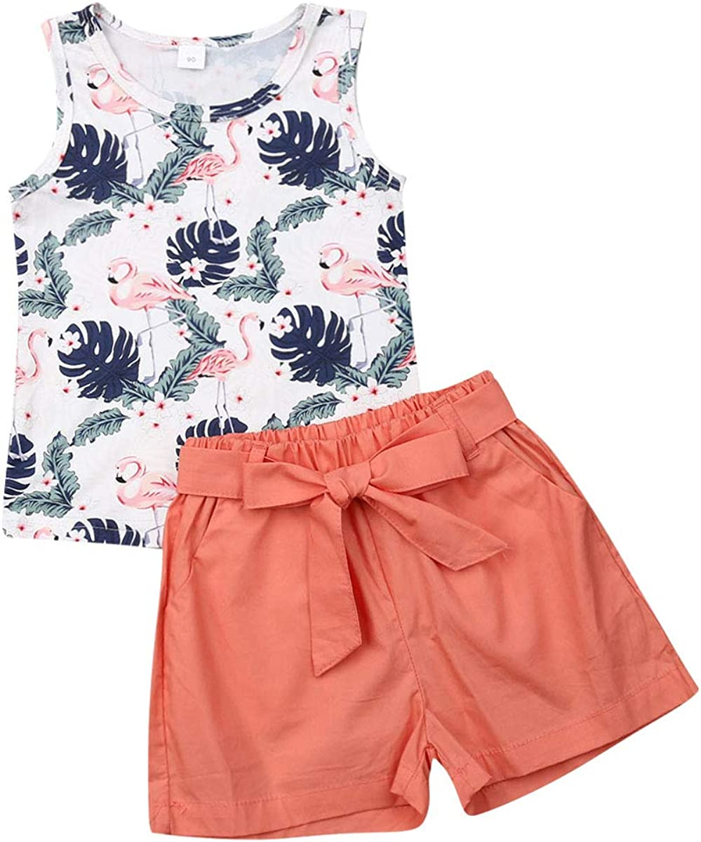 2Pcs/Set Fashion Toddler Kids Baby Girl Boy Summer Outfits Sleeveless Tassel T-Shirt Top+Floral Shorts Clothes Set 6M-5T
