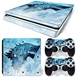 ZoomHit Ps4 Slim Playstation 4 Slim Console Skin Decal Sticker Winter Coming + 2 Controller Skins Set (Slim Only)