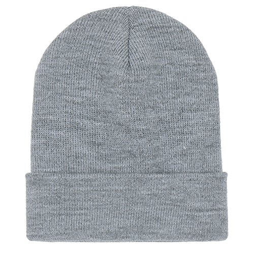 ililily Grey Ribbed Color Soft Slouchy Knit Solid Fold Beanie Over Hat axrqR6wFZa