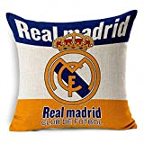 E-sunshinexAE Thick Cotton Blend Linen Square Throw Pillow Cover Decorative Cushion Case Pillow Case 18 X 18 Inches / 45 X 45 cm, New Football Club Badge (Real Madrid)