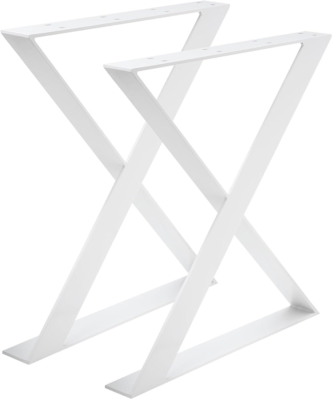 Madera werk24 mesa estructura tux504 Acero Blanco Cruz X ...