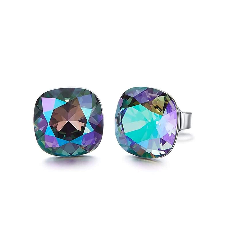 EoCot Silver Plated Square Earrings for Womens Australian Crystal Stud Earrings