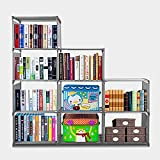 9-Cube Adjustable Bookcase, DIY Storage Cube Organizer 4 tier Home Furniture Cabinet Bookshelf (Gray)