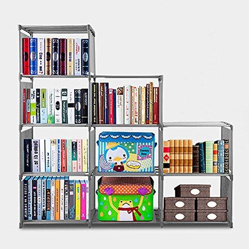 9-Cube Adjustable Bookcase, DIY Storage Cube Organizer 4 tier Home Furniture Cabinet Bookshelf (Gray) by upmik