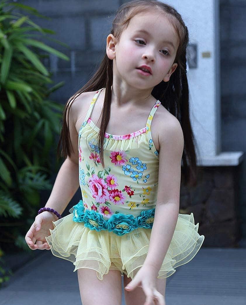 Dalary One Piece Cute Baby Girl Swimwear Chiffon Mini Dress Bathing Suits with Hat