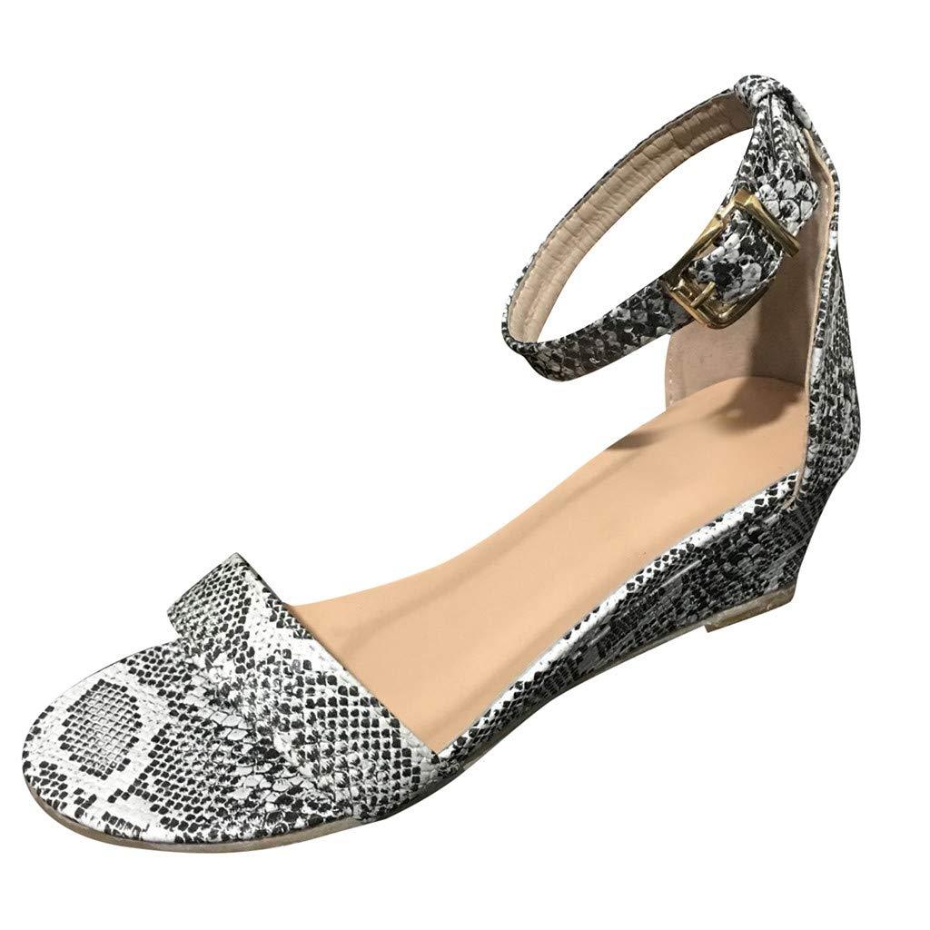 Women's Open-Toe Bottom Low Wedge Sandals AmyDong Ankle Strap Belt Buckle Sandals Summer Roman Shoes