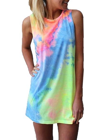 d6f42433721e Amazon.com  SUNKIDS Women Watercolor Print Dresses Pencil Dress Cute Mini Summer  Dresses Tie Dye Sleeveless Casual Loose T-Shirt Dress  Clothing