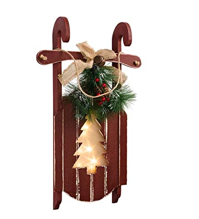 Amazoncom Hanging Wooden Sled With Lighted Holiday Cutout Design