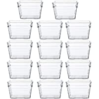 "Backerysupply Clear Plastic Drawer Organizer Tray for Vanity Cabinet (3""×3""×2"",Set of 14),Storage Tray for Makeup…"