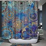 Blue Purple Mandala Shower Curtain Tree of Life with Floral Style Mandala Spiritual Artwork Meditation Peace Spa Bathroom Decor yl43 (59Wx70L)