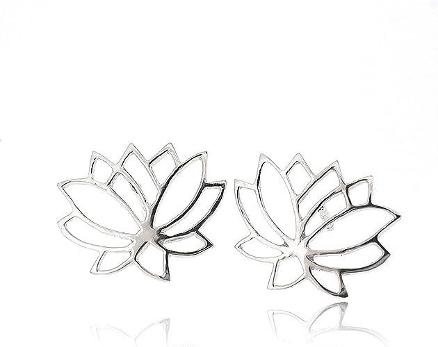 925 Solid Sterling Silver Ear Studs Earrings Enamel Flower Black