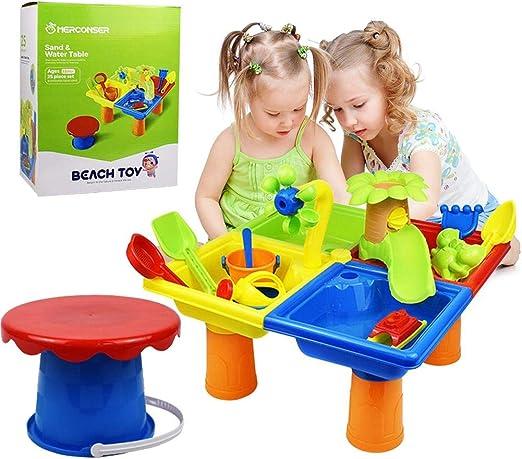 Mesa de arena y agua para niños, 25 piezas Juego de juguetes de arena de playa