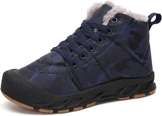 Boys Girls Winter Shoes Snow Boots Fur Lined Outdoor Shoes Slip On Ankle Boots