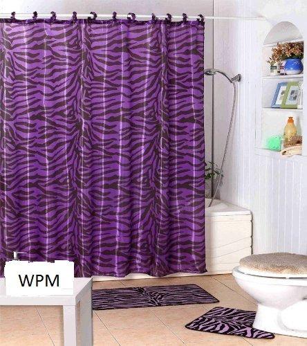 Amazon.com: Complete Bath Accessory Set- Black Purple Zebra Animal ...