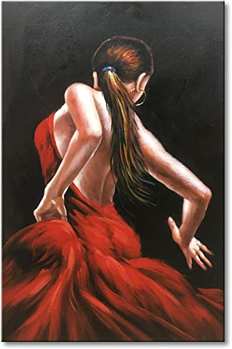 Everfun Dancer Girl Modern Canvas Wall Art Hand Painted Abstract Red Skirt People Oil Painting Flamenco Contemporary Dancing Dress Artwork Framed Ready to Hang