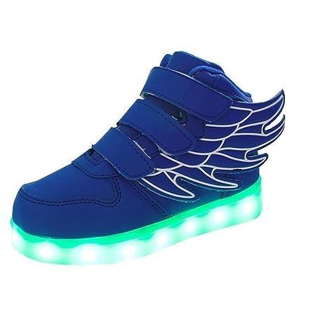 Joney Scarpe LED Bambini Boy bambina di 7 colori si illuminano ali di danza scarpe da tennis USB regalo di giorno lampeggiante per bambini di ricarica