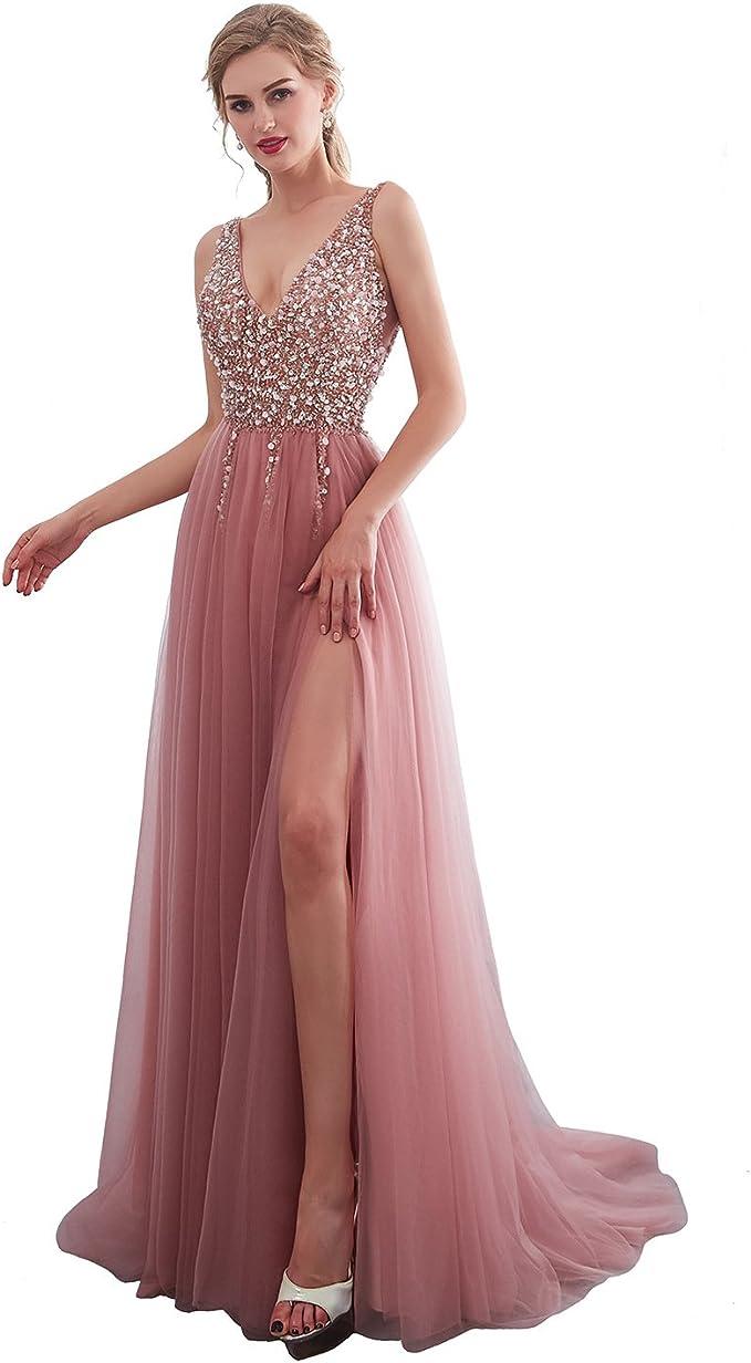 Amazon.com: iLovewedding Vestidos de fiesta de tul largo con ...