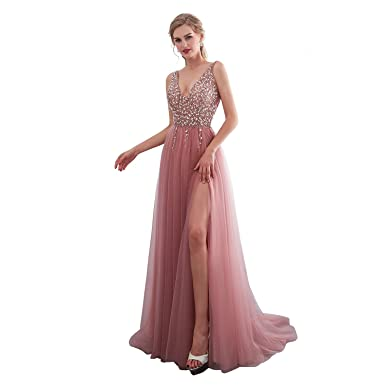iLovewedding Pink Prom Dresses High Slit V Neck Sequins Tulle Long Evening Gowns