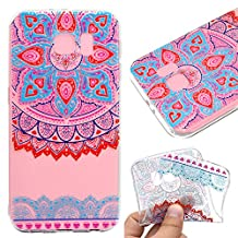 Galaxy S7 Case,Galaxy S7 Cover,Leeook Fashion Creative Transparent Cute Blue Pink Mandala Flower Pattern Design Soft Ultra Thin TPU Silicone Protector Back Rubber Clear Flexible Slim Bumper Shell Mobile Phone Case Cover for Samsung Galaxy S7 + 1 x Free Black Stylus