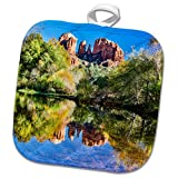 3dRose Danita Delimont - Rivers - Arizona, Sedona, Red Rock Crossing, reflections in the water. - 8x8 Potholder (phl_278456_1)