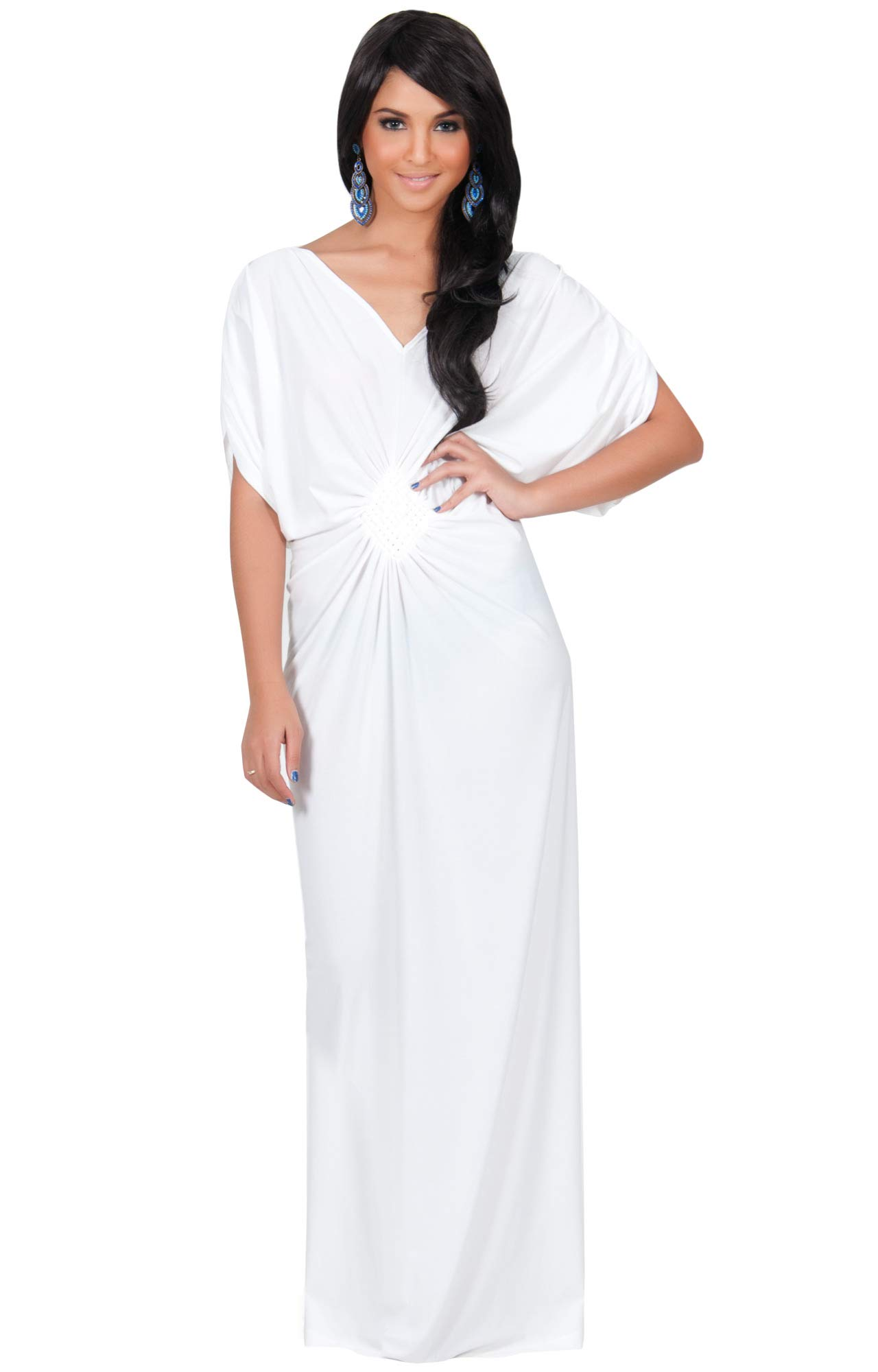 76e58c0fc04 KOH KOH Womens Long Short Sleeve Grecian Goddess Evening Modest Bridesmaid  Formal Sexy Wedding Party Guest Flowy Cute Maternity Gown Gowns Maxi Dress  ...