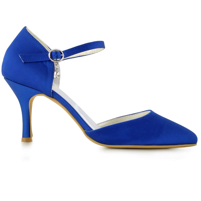 Qiusa Mädchen Handmade Satin Braut Hochzeit Hochzeit Hochzeit Abend Pumps Schuhe (Farbe   Blau-6.5cm Heel, Größe   9 UK)  f38340