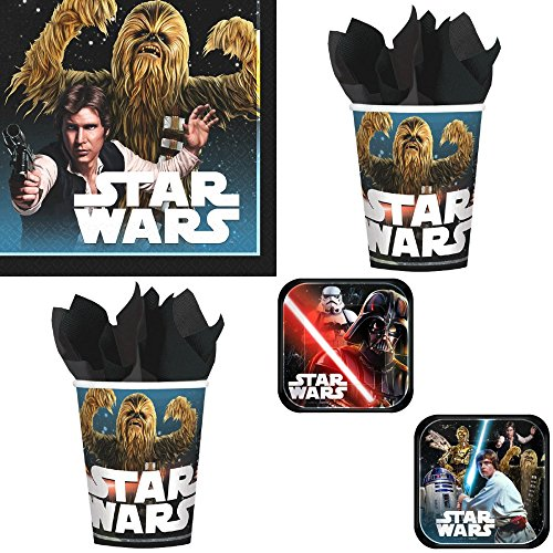 Star Wars Classic Birthday Party Supplies Bundle Pack for 16 Guests -