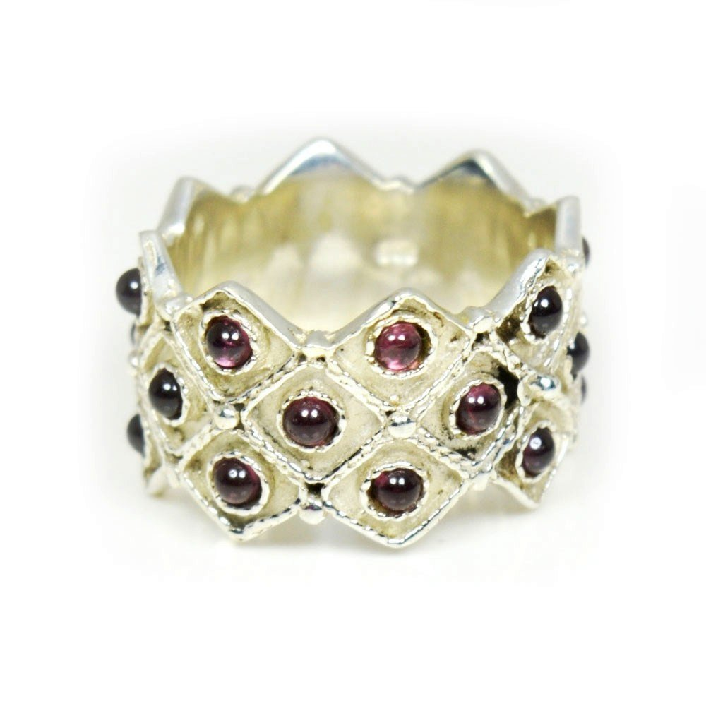 Jewelryonclick Genuine Round Shape Red Garnet Ring Sterling Silver Size US 4 to 12