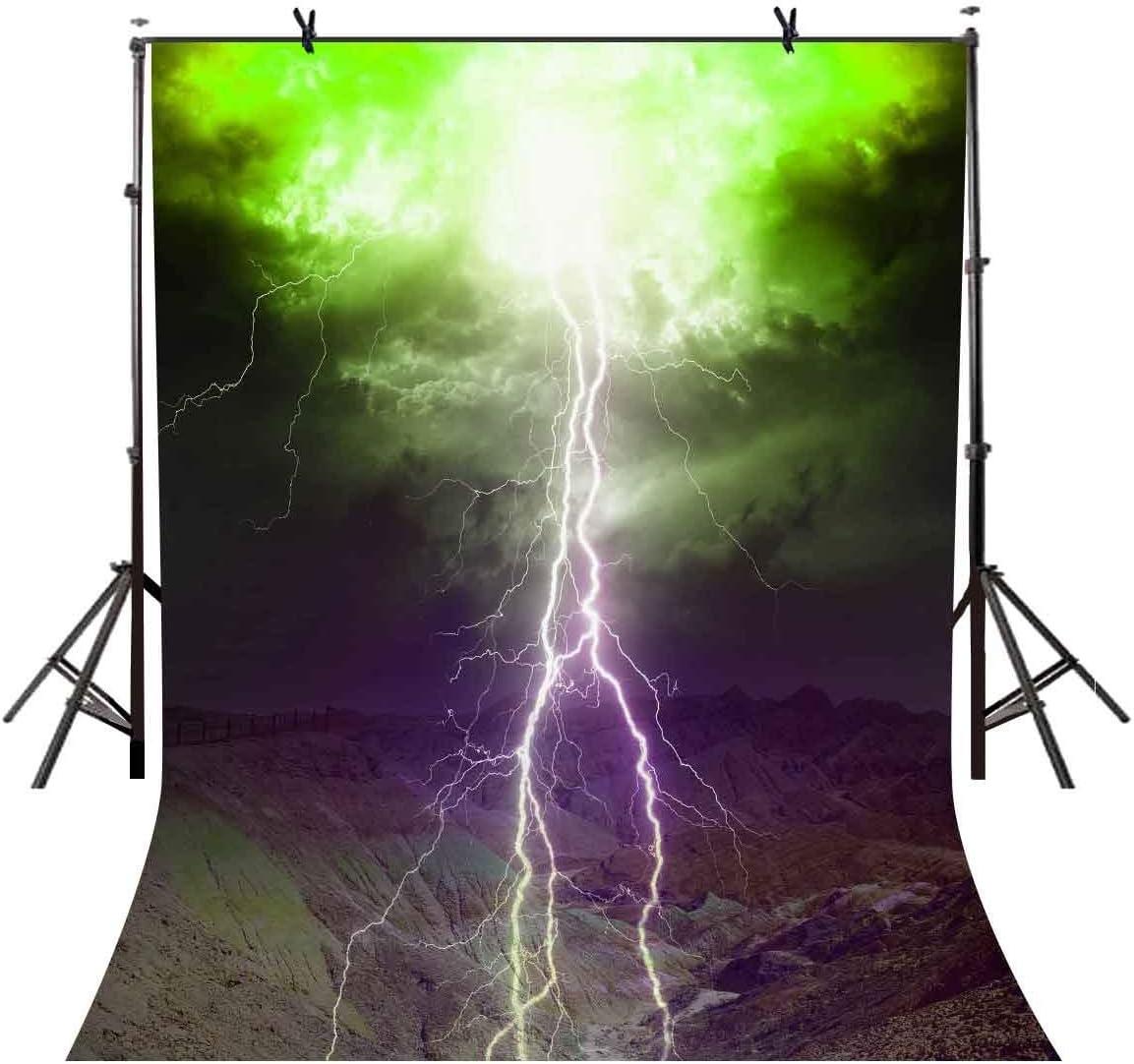 GoEoo 5x7ft Lightning Backdrop Thunder Lightning Stormy Photography Backdrop Photo Studio Background Props LYXC072