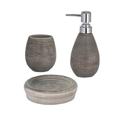 Portasapone Bagno In Ceramica.Axentia Accessoires Oxford Bad Set Da Bagno Composto Da Dispenser Di Sapone Liquido Portasapone E Bicchiere Accessorio Per Il Bagno Con Dispenser