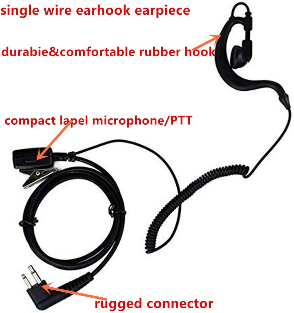 2Pack Single Wire Earpiece with Cable Compatible for Motorola CLS 1110 CLS 1410 DTR410 PR400 RDU4100 RDU4160D RMU2040 RMU2080D RMU2080 Two Way Radio Walkie Talkie 2 Packs