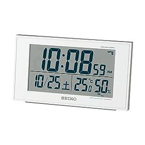 セイコークロック 電波目覚まし時計 カレンダー・快適度 温度・湿度表示 SQ758