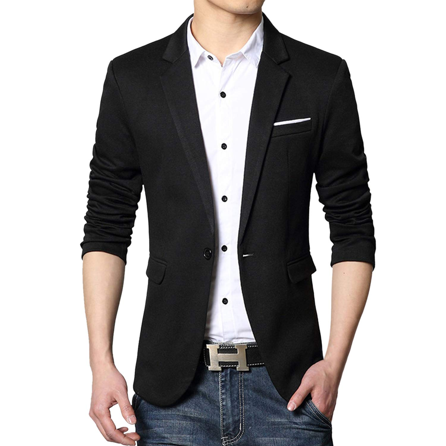 Previn Mens Slim Fit Blazer Cotton Casual Solid One Button Jacket Sport Coat