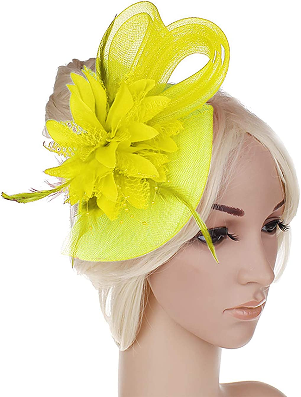 Anita Women's Fascinators Small Hairpin Feather hat (One Size, Yellow) at  Amazon Women's Clothing store