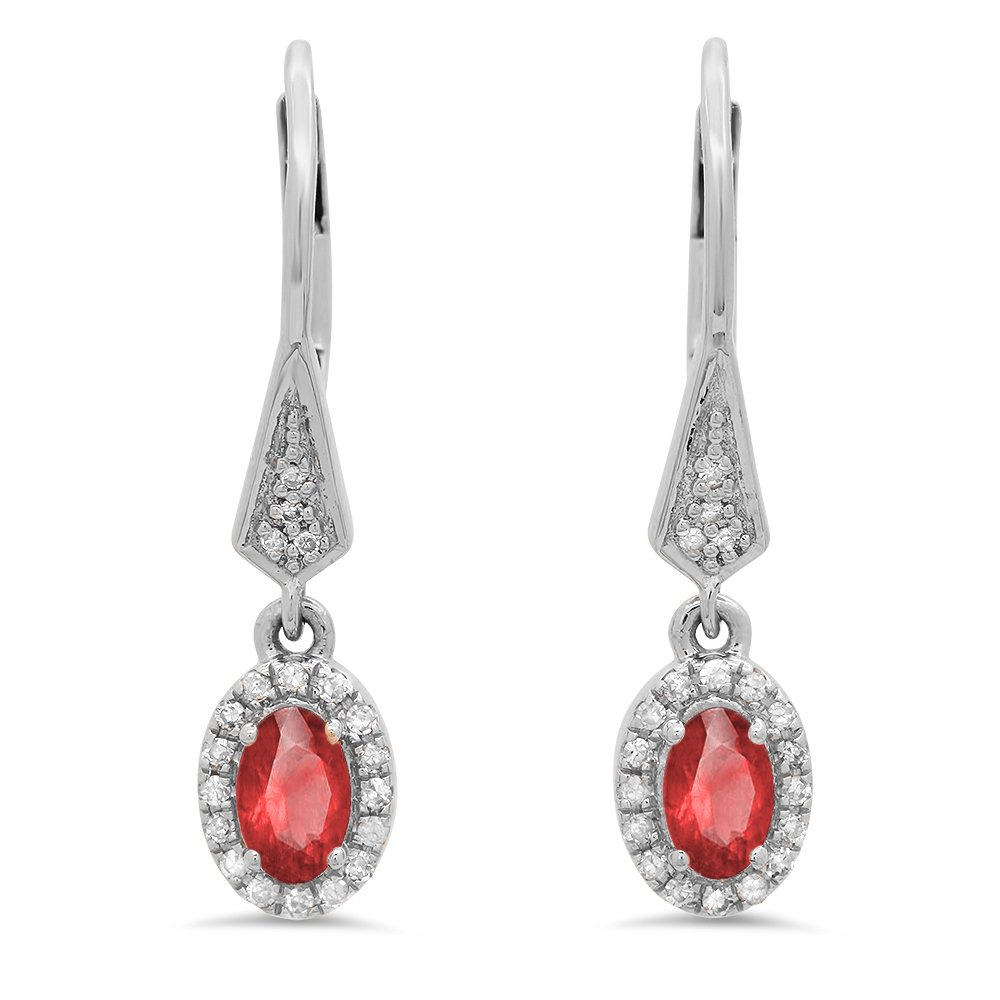 10K White Gold Oval Ruby & Round White Diamond Ladies Halo Style Dangling Drop Earrings by DazzlingRock Collection