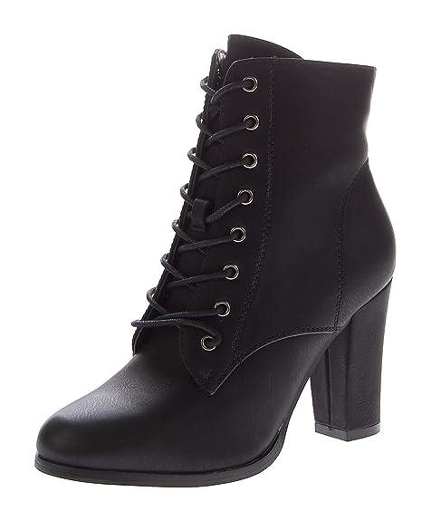 Moden Gr36 Stiefel Stahl Braun Grau 41 Gefüttert Block Stiefeletten Leicht Schuhe Damen Absatz Schnür m0N8nw