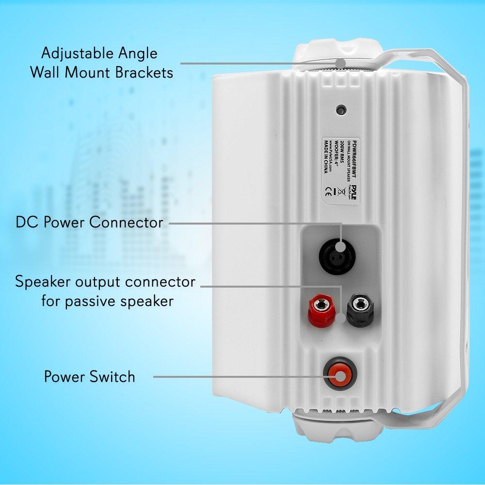 Pyle Indoor/Outdoor Wall Mount Speaker - Waterproof Rated - White ...