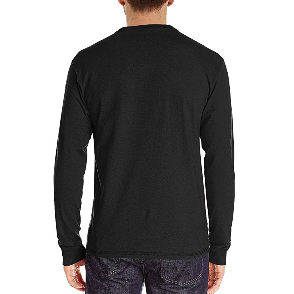 Emerayo Mens Long Sleeve Round Neck Henley Shirt Crew Neck Blouse Top Casual Shirt