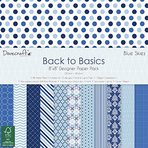 Blue 12x12 Scrapbook Paper - Dovecraft Back To Basics Paper Pack 8