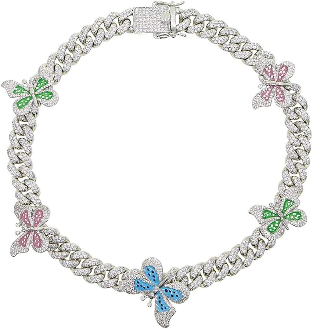 Butterfly Choker Cuban Chain Rose Gold 14mm Cuban Link Chain Butterfly Necklace Butterfly Chain Butterfly Cuban Chain